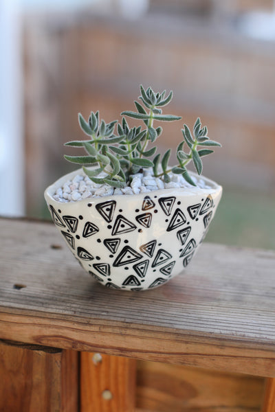 Oval Planter- Black Painted Triangles