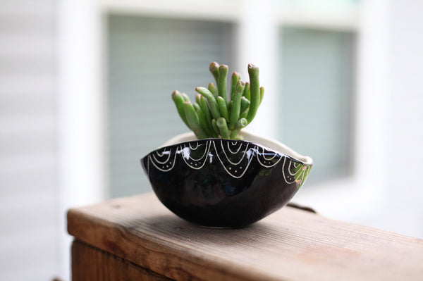 Oval Planter- Black carved semi-circle