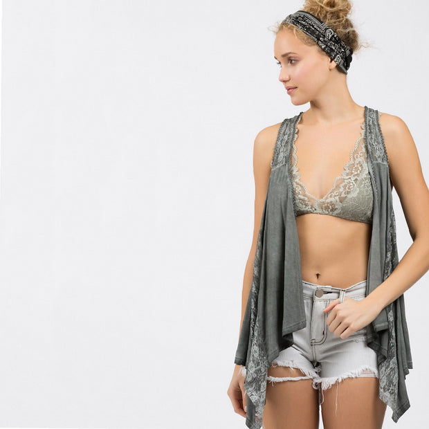 Charcoal Racerback Lace Flowy Vest - Nixon & Co Boutique