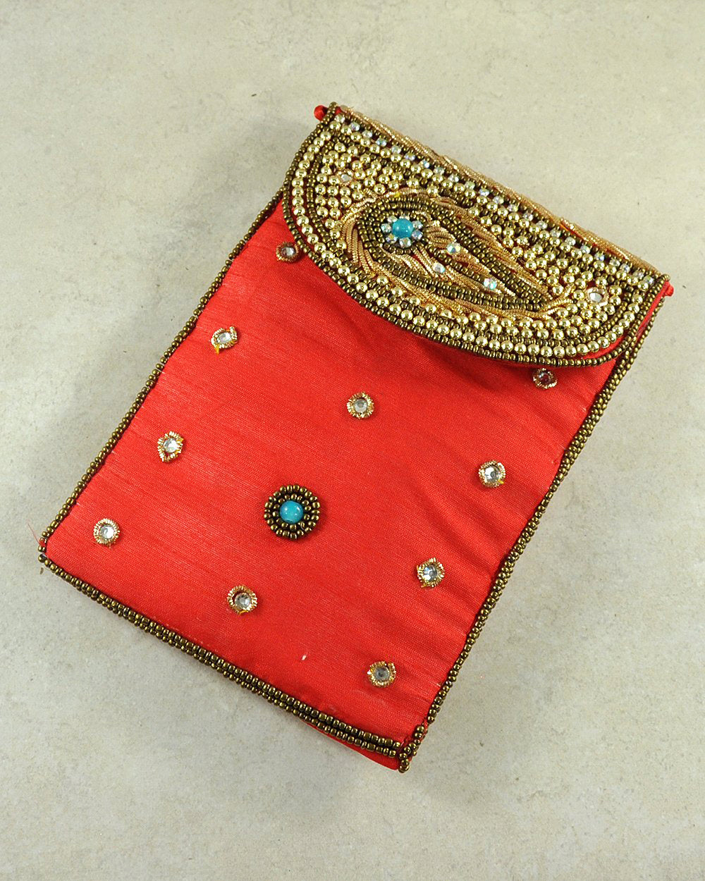 Designer Sequins and Crystals Embroidery Silk Crossbody Bag - Red