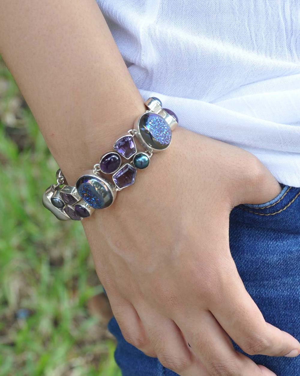 Aura Rainbow Druzy and Amethyst Sterling Silver Bracelet