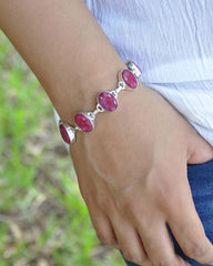 Raw Ruby Bracelet in Sterling Silver
