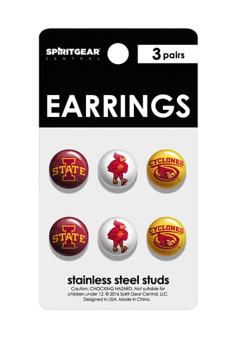Iowa State Cyclones Stud Earrings - Spirit Gear Central