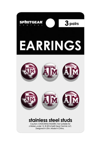 Texas A&M Aggies Stud Earrings - Spirit Gear Central