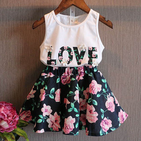2pc Floral Love Tank Top + Floral Skirt