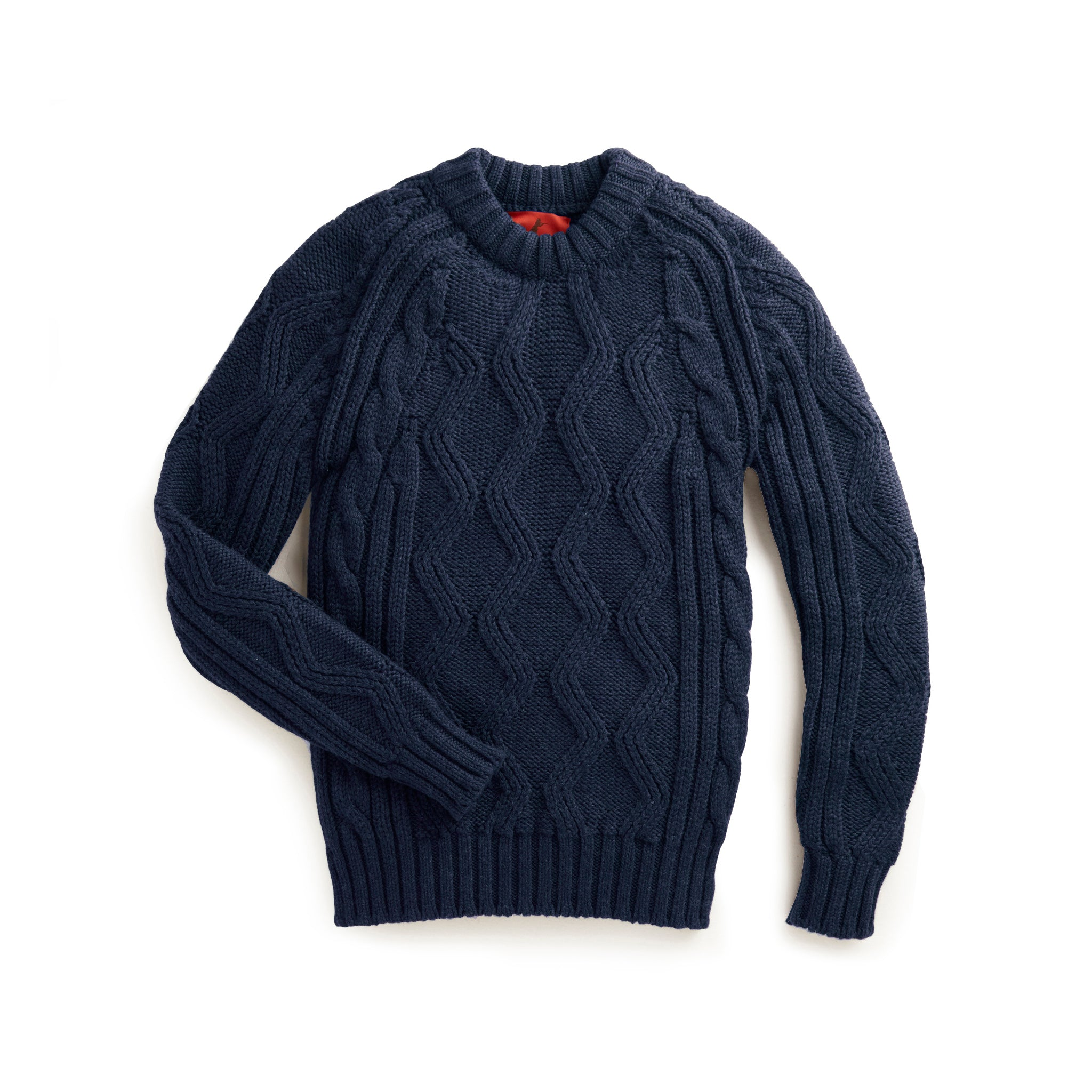 Archie Foal Men's Oskar Cable Knit Sweater in NAVY