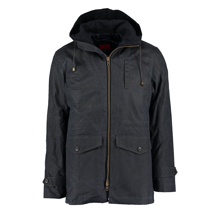 Archie Foal Men's Wax Cotton Parka in Navy