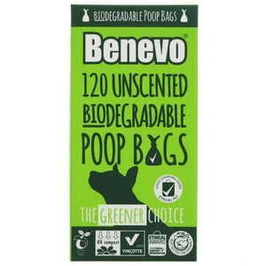 Benevo 120 Biodegradable Poo Bags 125g - Shipping From Just £2.99 Or FREE When You Spend £55 Or More