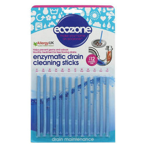 Ecozone Enzymatic Drain Sticks - 12 x 23g - Shipping From Just £2.99 Or FREE When You Spend £55 Or More