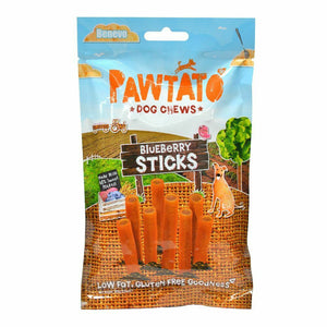 Benevo Pawtato Dog Chews Blueberry Sticks - 120g - Shipping From Just £2.99 Or FREE When You Spend £55 Or More
