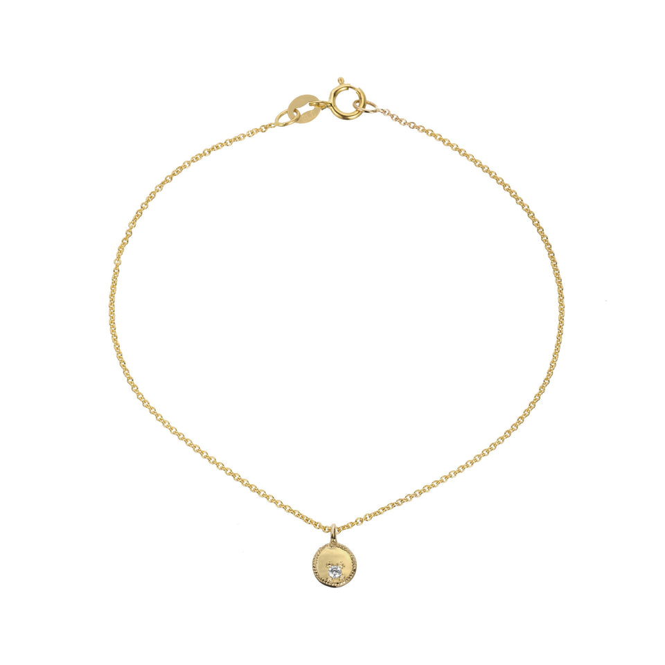 Gold circle diamond mirror pendant charm bracelet with a 1.5 mm diamond and milgrain detail on cable chain