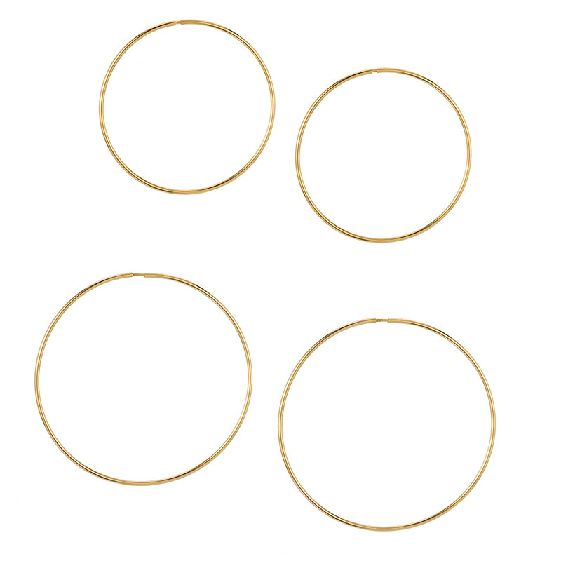 14K Hollow Hoops—Small