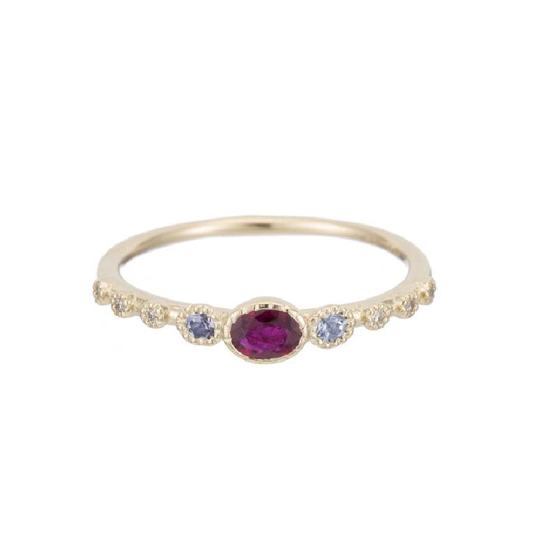 Ruby Tanzanite Diamond Dew Ring