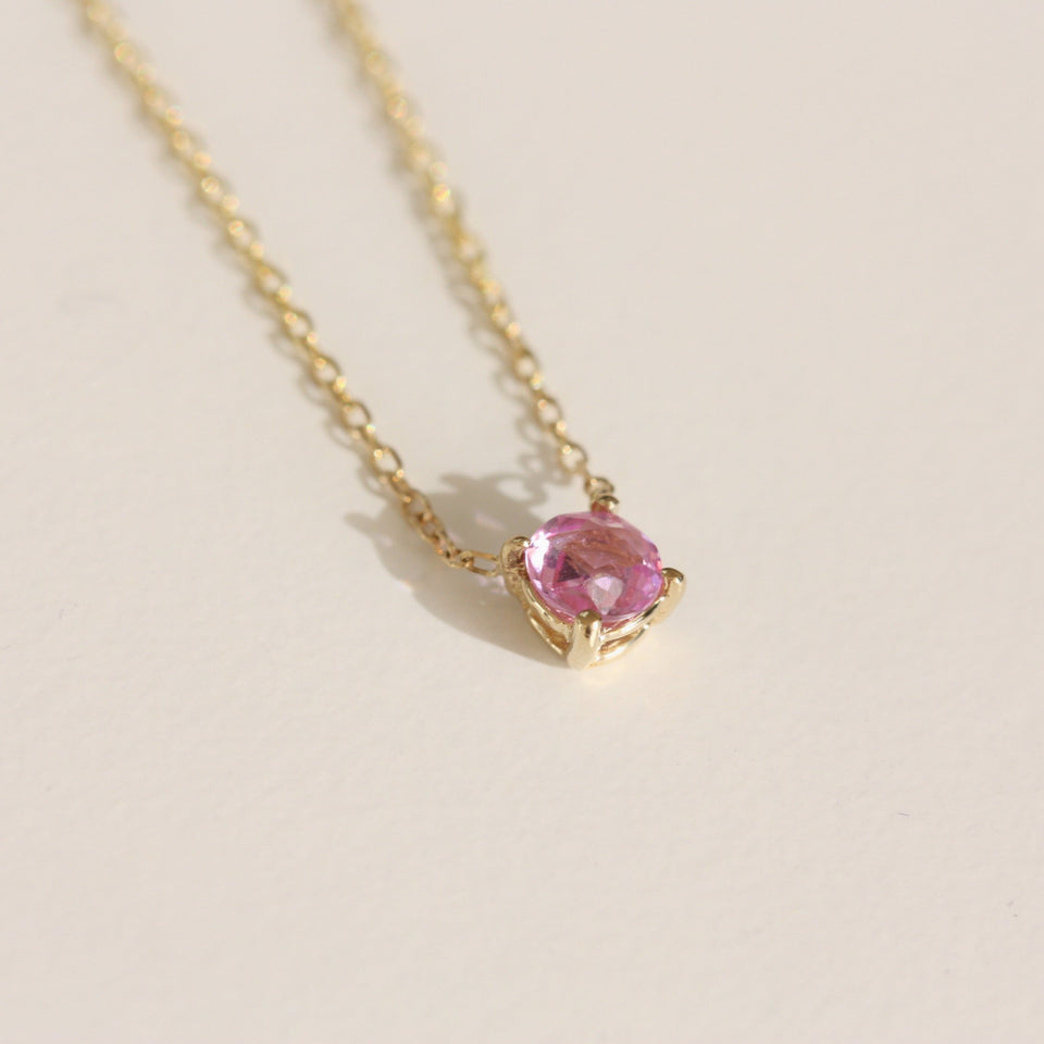 Pink Rose Cut Solitaire Necklace