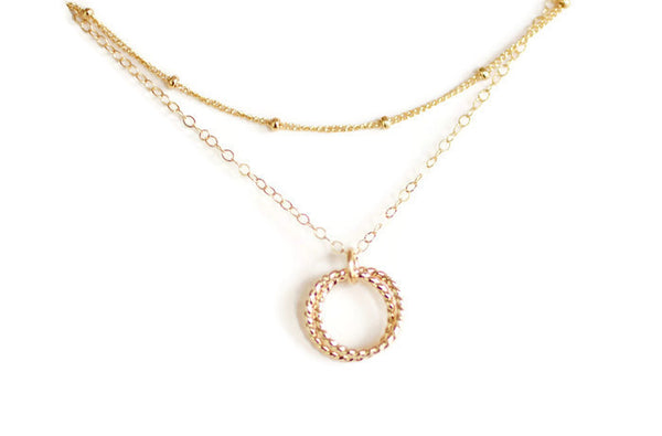 The Elinor Layered necklace with connected circles (Silver or Gold)