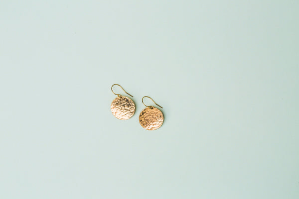 The Dani Hammered Disc Earrings (Silver or Gold)