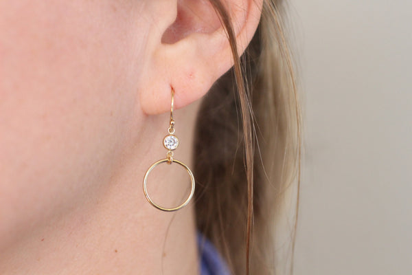 The Chloe Circle and CZ Earrings (Silver or Gold)