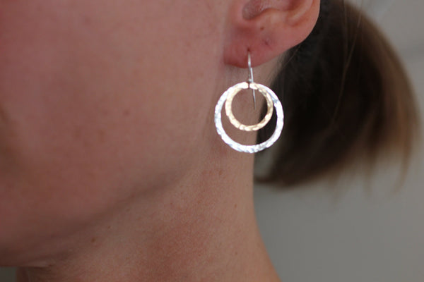 The Olivia Hammered Circles Earrings (Mixed Metals)