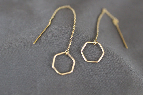 The Lisa Hexagon EarThreader Earrings (Gold or Silver)