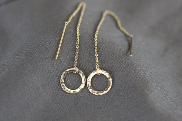 The Erika Circle Ear Threader Earrings (Silver or Gold)