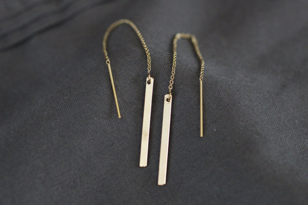 The NatalieGold Bar Ear Threader Earrings (Gold or Silver)