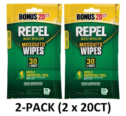 REPEL Sportsmen 30% DEET Mosquito Repellent Wipes, 20ct (40-Total)