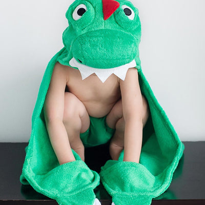 ZOOCCHINI Kids Plush Terry Hooded Bath Towel - Devin the Dinosaur-1