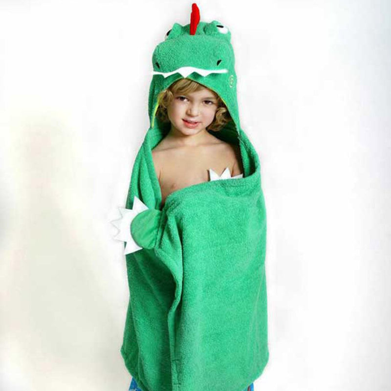 ZOOCCHINI Kids Plush Terry Hooded Bath Towel - Devin the Dinosaur