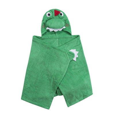 ZOOCCHINI Kids Plush Terry Hooded Bath Towel - Devin the Dinosaur-4