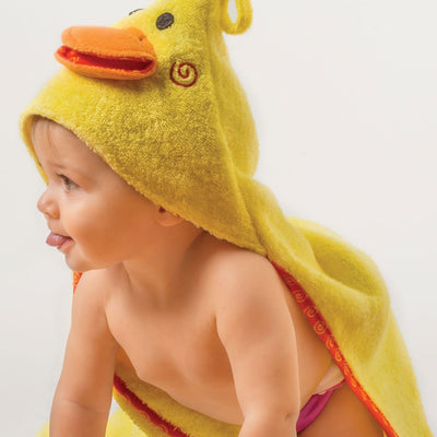ZOOCCHINI Baby Snow Terry Hooded Bath Towel - Puddles the Duck-1