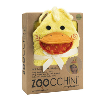 ZOOCCHINI Baby Snow Terry Hooded Bath Towel - Puddles the Duck-5