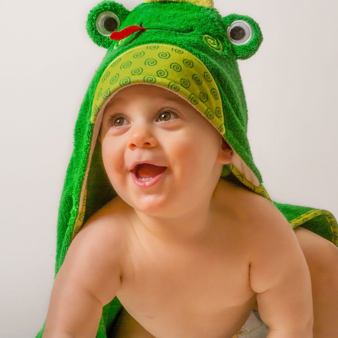 ZOOCCHINI Baby Snow Terry Hooded Bath Towel - Flippy the Frog