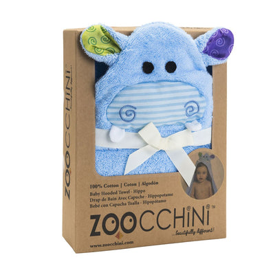 ZOOCCHINI Baby Snow Terry Hooded Bath Towel - Henry the Hippo-3