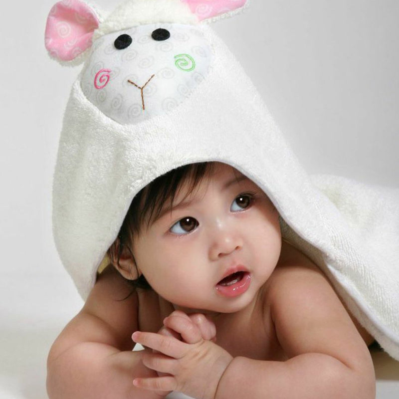 ZOOCCHINI Baby Snow Terry Hooded Bath Towel - Lola the Lamb