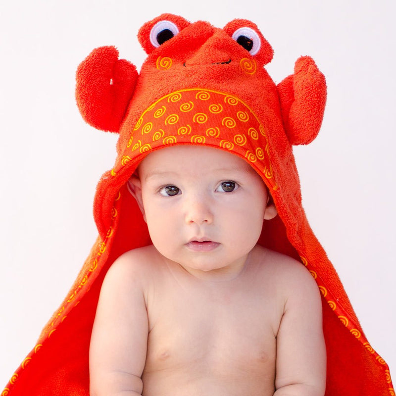 ZOOCCHINI Baby Snow Terry Hooded Bath Towel - Charlie the Crab