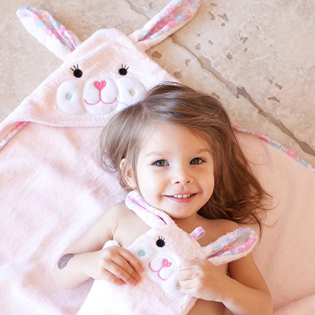 ZOOCCHINI Baby Snow Terry Hooded Bath Towel - Beatrice the Bunny