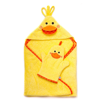 ZOOCCHINI Baby Snow Terry Hooded Bath Towel - Puddles the Duck-6