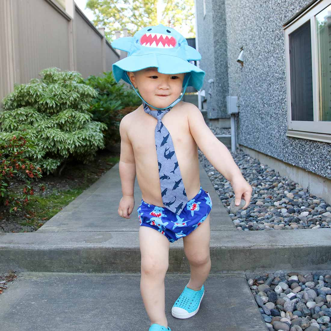 ZOOCCHINI UPF50+ Baby Swim Diaper & Sun Hat Set - Sherman the Shark