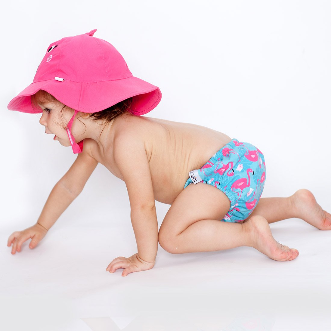 ZOOCCHINI UPF50+ Baby Swim Diaper & Sun Hat Set - Franny the Flamingo