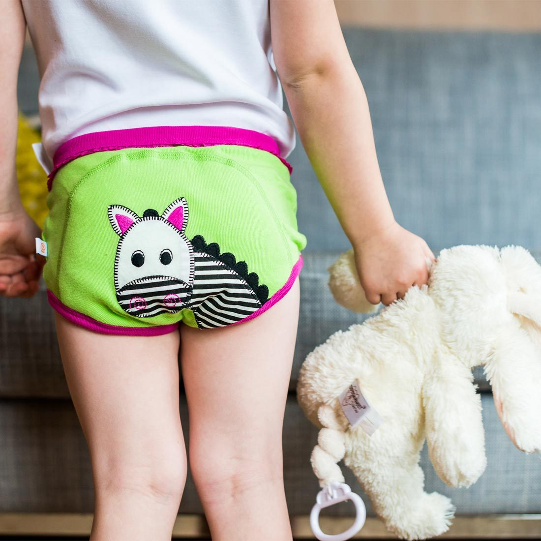 ZOOCCHINI Girls 3 Piece Organic Potty Training Pants Set - Safari Friends
