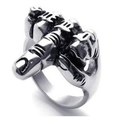 MIDDLE FINGER UP STAINLESS STEEL RING