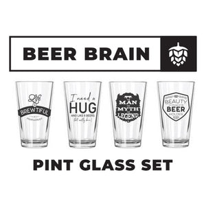 Beer Brain Pint Glasses Set (4) - Northern Glasses Pint Glass