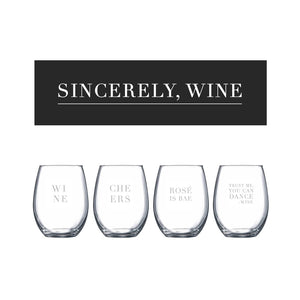 """Sincerely, Wine"" Stemless Wine Glass Set - Northern Glasses Pint Glass"