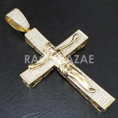 New Lab diamond Micro Pave JUMBO Jesus Crucifix Pendant.