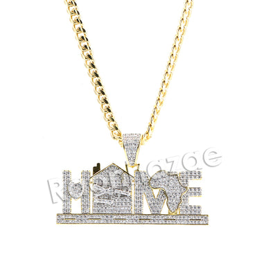 "Hiphop Iced Out ""Africa is my Home"" Brass Pendant W/ 5mm 18-30 inches Cuban Chain - Raonhazae"