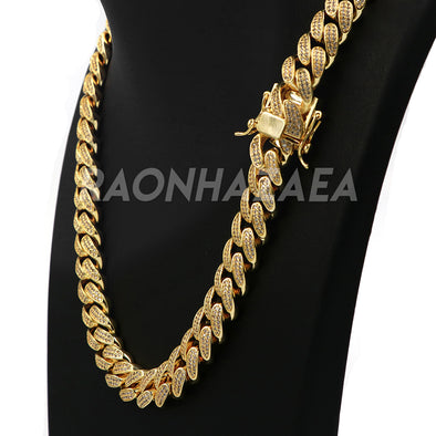 18K Yellow Gold CUBAN Miami Chain Link MicroPave Lab Diamond Necklace - Raonhazae