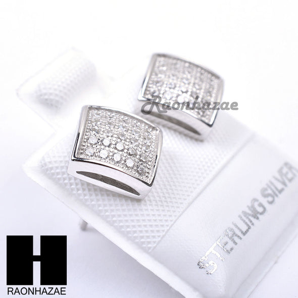 Iced Out Sterling Silver .925 Lab Diamond 8mm Square Push Back Earring SE021S - Raonhazae