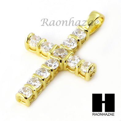 Iced Out Sterling Silver .925 AAA Lab Diamond Jesus Cross w/2.5mm Moon Chain S30 - Raonhazae