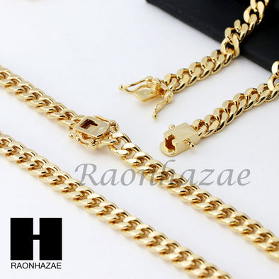 14k Gold Finish Heavy 6mm Miami Cuban Link Chain Necklace Bracelet Various Set Z - Raonhazae