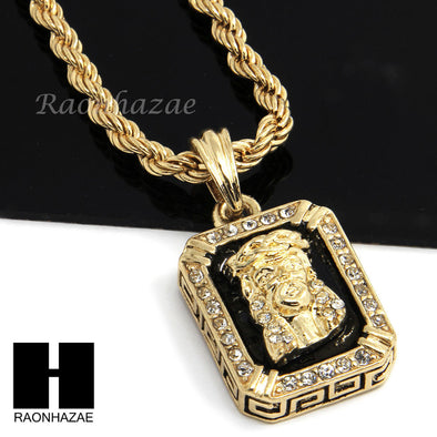"MENS ICED OUT GOLD BLACK ONYX JESUS FACE CZ PENDANT 24"" ROPE NECKLACE SET N019 - Raonhazae"